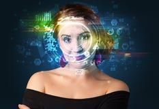 Identification biométrique et reconnaissance faciale photographie stock