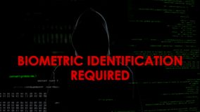 Identification biométrique requise, tentative entaillante infructueuse sur le compte photos stock