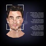 Identification biométrique sur le visage, dans le style de bas poly illustration stock