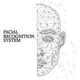 Identification biométrique, visage 1-2 blanc noir d'homme illustration libre de droits