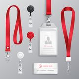 Identification Card Badge Accessories Set. Professional identification card id badges holders with red lanyards and strap clips realistic templates set isolated vector illustration