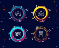 Identification card, Id card and Feedback icons. Smartphone buying sign. Set of Identification card, Id card and Feedback icons. Smartphone buying sign. Person royalty free illustration