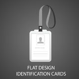 Identification card with a photo pass in the flat style Stock Photos