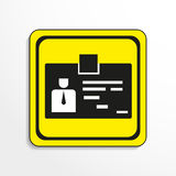 Identification card. Vector icon. Black-and-white object on a yellow background. Stock Images