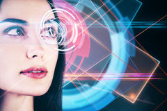 Identification concept. Close up of woman face with futuristic digital cyber eye. Identification concept Royalty Free Stock Photo