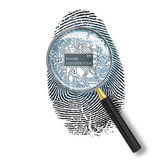Identification concept. Magnifying glass over finger print with microchip on white background Stock Image