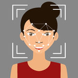 Identification de Biometrical Reconnaissance des visages illustration de vecteur