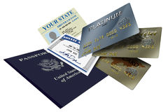 Identification documents. Various forms of identity license, credit and passport Stock Photography