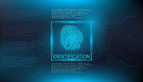 Identification, finger scan in futuristic style biometric id with futuristic hud interface fingerprint scanning. Finger scan in futuristic style biometric id Stock Photography