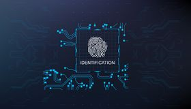 Identification, finger scan in futuristic style biometric id with futuristic hud interface fingerprint scanning. Finger scan in futuristic style biometric id Stock Image
