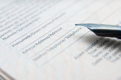 Identification form filling Stock Photo