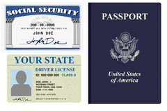 Identification papers. Various forms of identity license, social security and passport Royalty Free Stock Image