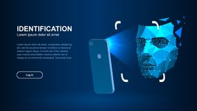 Identification of a person through the system of recognition of a human face. The smartphone scans a person`s face forming a polygonal mesh consisting of lines royalty free illustration