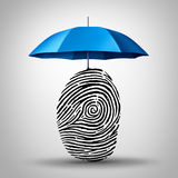 Identification Protection. And ID fraud safety as an umbrella protecting a fingerprint or finger print icon as an identity security symbol and consumer Royalty Free Stock Image