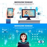 Identification Technologies Banners. Identification technology 2 infographic elements horizontal banners with face fingerprint signature recognition computer Royalty Free Stock Photos