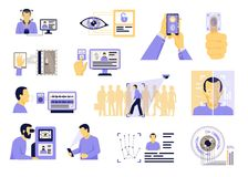 Identification Technologies Flat Set. Automatic identification computer visual analysis technologies applications flat set with face recognition security system Stock Photos