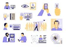 Identification Technologies Flat Set royalty free illustration