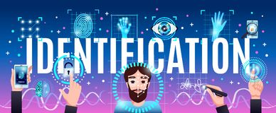 Identification Technologies Header. Identification innovative computer security technologies horizontal colorful composition header title with face hand eye Royalty Free Stock Images