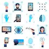 Identification Technologies Icons Set. Identification technologies symbols collection with signature eye iris facial recognition biometric systems isolated white Royalty Free Stock Images