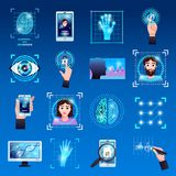 Identification Technologies Icons Set. Identification technologies symbols icons set with touch screen fingerprint recognition id systems isolated blue Royalty Free Stock Photo