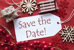 Identifichi con la decorazione di Natale, risparmi inglesi del testo la data Immagine Stock Libera da Diritti