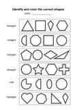 Identifichi e colori le forme corrette gioco geometrico educativo di forme materiale di apprendimento stampabile per i bambini P  illustrazione vettoriale