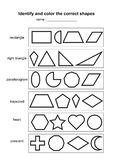 Identifichi e colori le forme corrette gioco geometrico educativo di forme materiale di apprendimento stampabile per i bambini P  illustrazione di stock