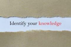 Identifichi la vostra conoscenza immagini stock