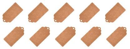 Identifichi le etichette da carta riciclata isolata su un fondo bianco immagini stock libere da diritti