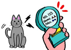 Identified by a microchip. Missing cat identified by a microchip royalty free illustration
