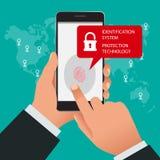 Identifiera med fingeravtryck bildläsaren, IDsystemet, skyddsteknologibegrepp Vektorillustration av mobiltelefonsäkerhet Arkivbild