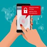 Identifiera med fingeravtryck bildläsaren, IDsystemet, skyddsteknologibegrepp Vektorillustration av mobiltelefonsäkerhet Royaltyfri Bild