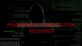 Identifiera med fingeravtryck den krävda verifikationen, mislyckat dataintrångförsök på konto lager videofilmer