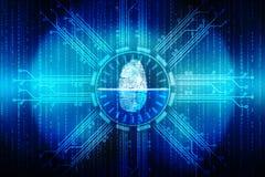 Identifiera med fingeravtryck illustrationen för scanningteknologibegreppet, cybersäkerhetsbackgrond Royaltyfri Bild