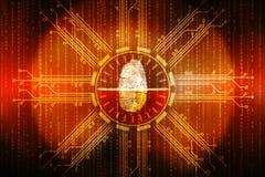 Identifiera med fingeravtryck illustrationen för scanningteknologibegreppet, cybersäkerhetsbackgrond stock illustrationer