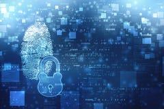 Identifiera med fingeravtryck scanningIDsystemet, det digitala säkerhetssystemet med fingeravtrycket och låset royaltyfri fotografi