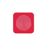 Identifiera med fingeravtryck symbolsvektorn, runt format fingeravtryck på den röda knappen Royaltyfri Foto