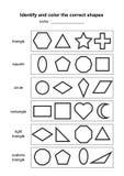Identifiera och färga de korrekta formerna bildande geometrisk formlek tryckbart lärande material för ungar Svartvitt p royaltyfri illustrationer