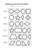 Identifiera och färga de korrekta formerna bildande geometrisk formlek tryckbart lärande material för ungar Svartvitt p vektor illustrationer