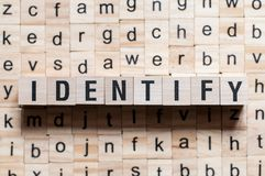 Identifiera ordbegreppet royaltyfria foton