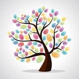 Identifierar med fingeravtryck mångfaldträdet royaltyfri illustrationer