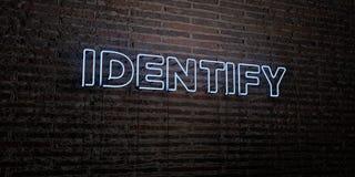 IDENTIFIEZ - enseigne au néon réaliste sur le fond de mur de briques - l'image courante gratuite de redevance rendue par 3D Photographie stock