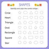 Identifique e colora a forma correta Aprenda formas e figuras geométricas Pré-escolar ou folha do jardim de infância Foto de Stock Royalty Free