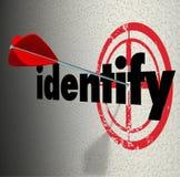 Identifizieren Sie Wort-Pfeil-Ziel bestimmen Genauigkeit definieren Standort Stockfoto