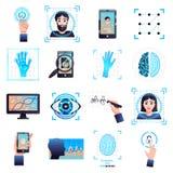 Identifizierungs-Technologie-Ikonen eingestellt lizenzfreie abbildung