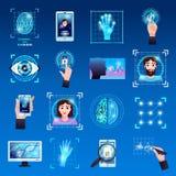 Identifizierungs-Technologie-Ikonen eingestellt vektor abbildung
