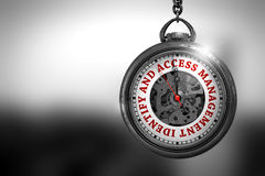 Identify And Access Management 3D Illustration. Identify And Access Management Close Up of Red Text on the Vintage Pocket Clock Face. Business Concept: Pocket Royalty Free Stock Photography