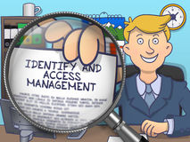 Identify and Access Management through Lens. Doodle Concept. Identify and Access Management. Happy Officeman Sitting in Offiice and Showing Concept on Paper Stock Photos