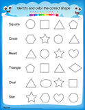 Identify and color the correct shape worksheet Royalty Free Stock Photo