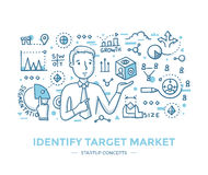 Identify Startup Target Market. Man points to abstract box with symbols, that represent data about market niche. Hand drawn line  illustration of identifying Stock Image